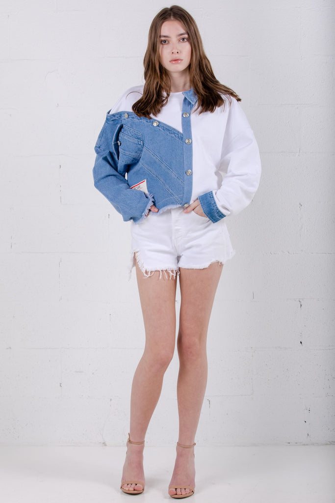 Devil Beauty Asymmetric Denim White Shirt - Room 29