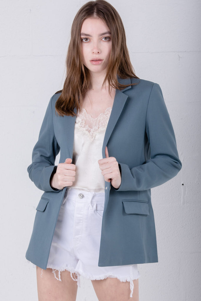 Petite Studio Veda Blazer Dusty Blue - Room 29