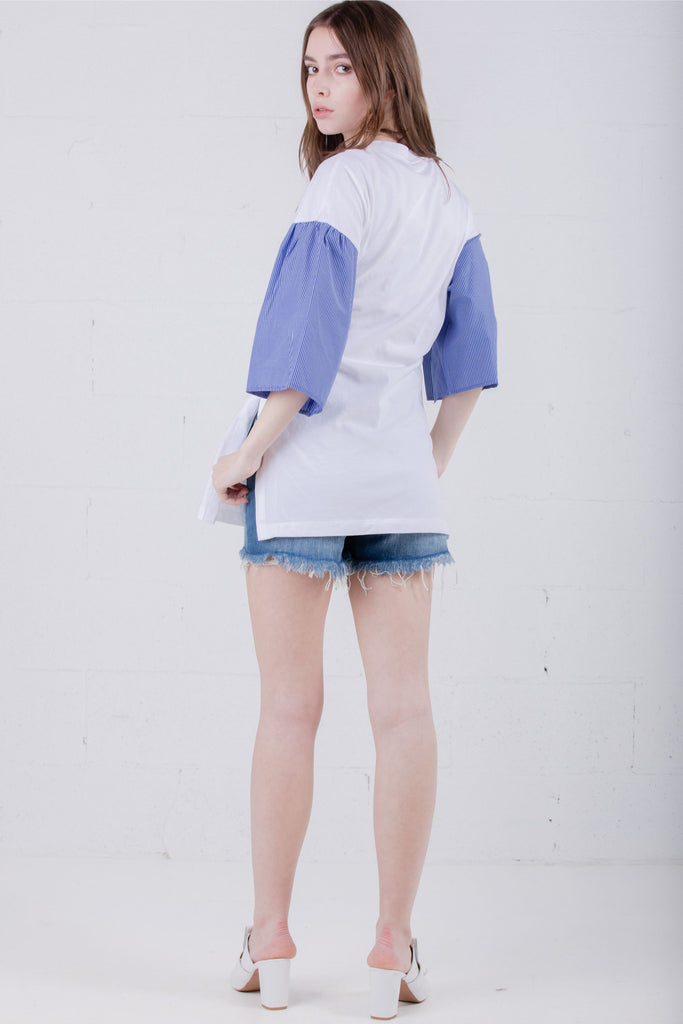SJYP Long Tee Stripe Belted White - Room 29