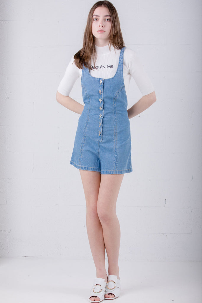 SJYP Denim Overalls Front Button - Room 29