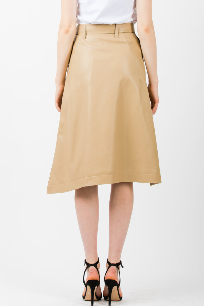 Andersson Bell Lydia Unbalance Leather Skirt Beige - Room 29