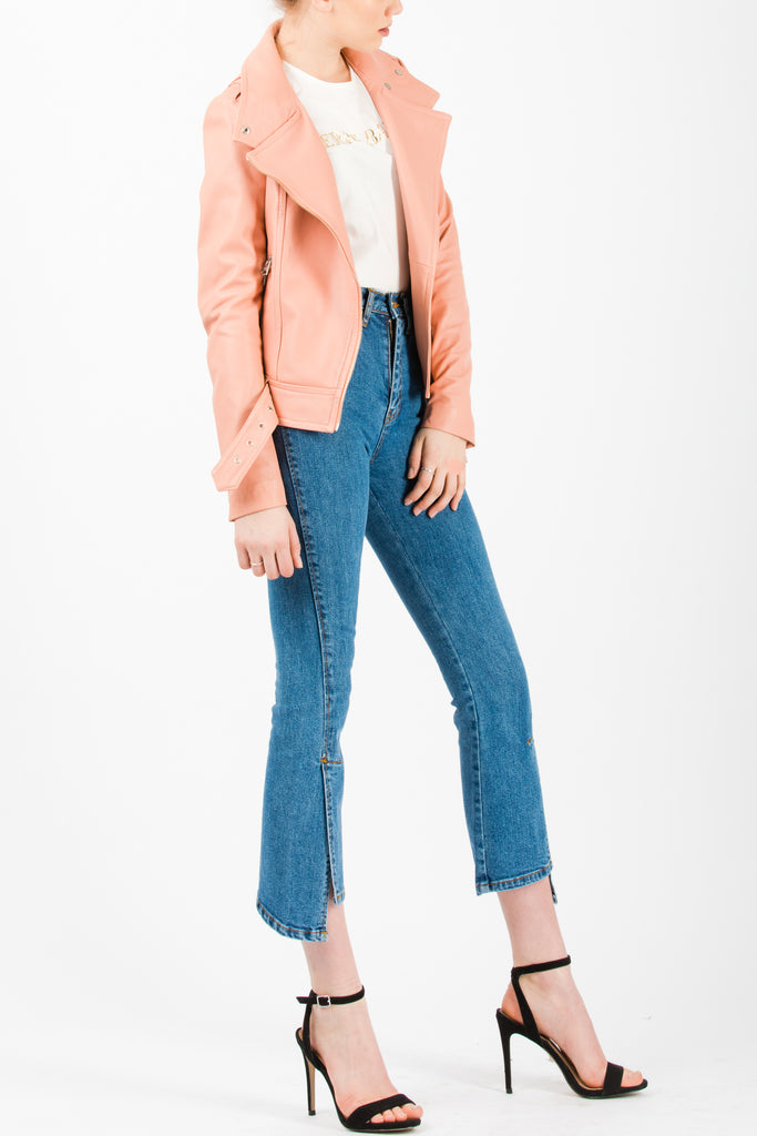Mackage Hania Perfecto Leather Jacket With Belt Peach - Room 29