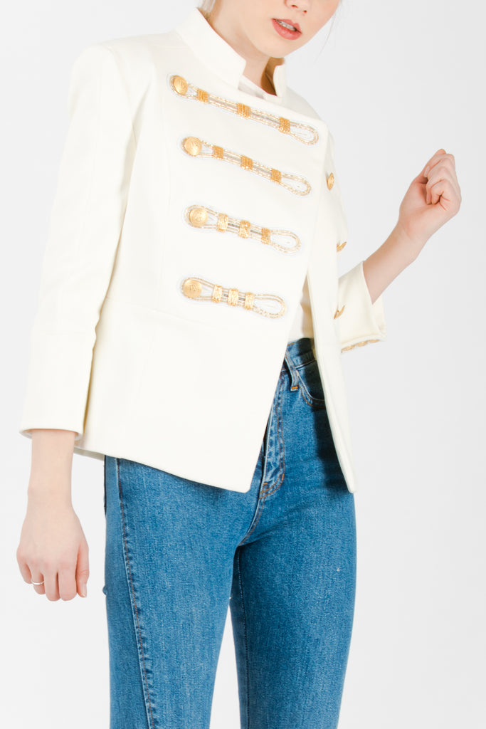 Pierre Balmain Embellished Twill Blazer White - Room 29