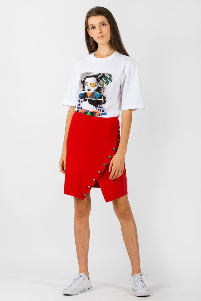 Pinko Gladiolo Gonna Viscosa Elastic Skirt Red - Room 29