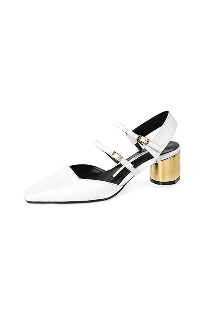 Salondeju SJ16104 Strapped Kitten Heel White with Gold Heel