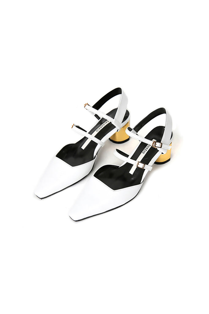 Salondeju SJ16104 Strapped Kitten Heel White with Gold Heel - Room 29