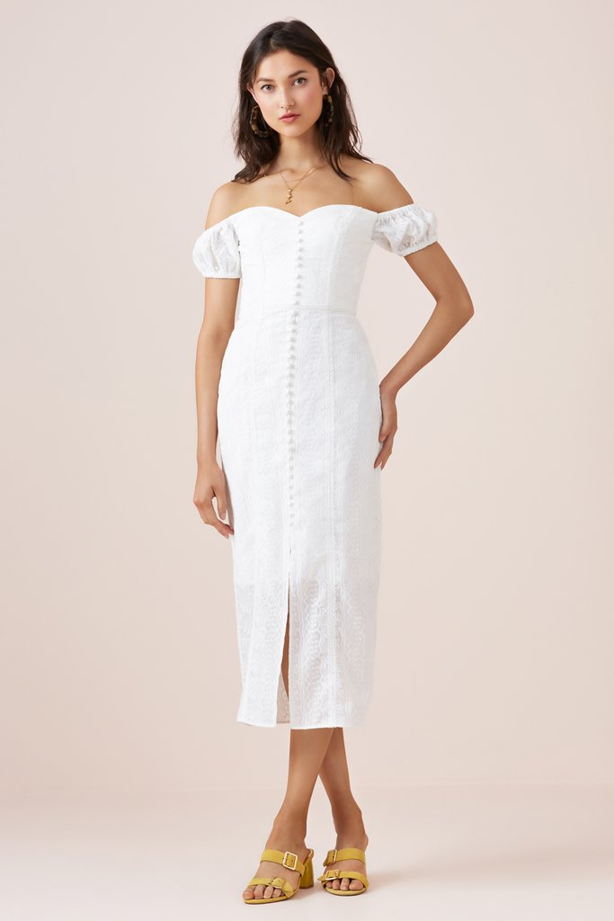 Finders Keepers Maella Midi Dress Ivory - Room 29