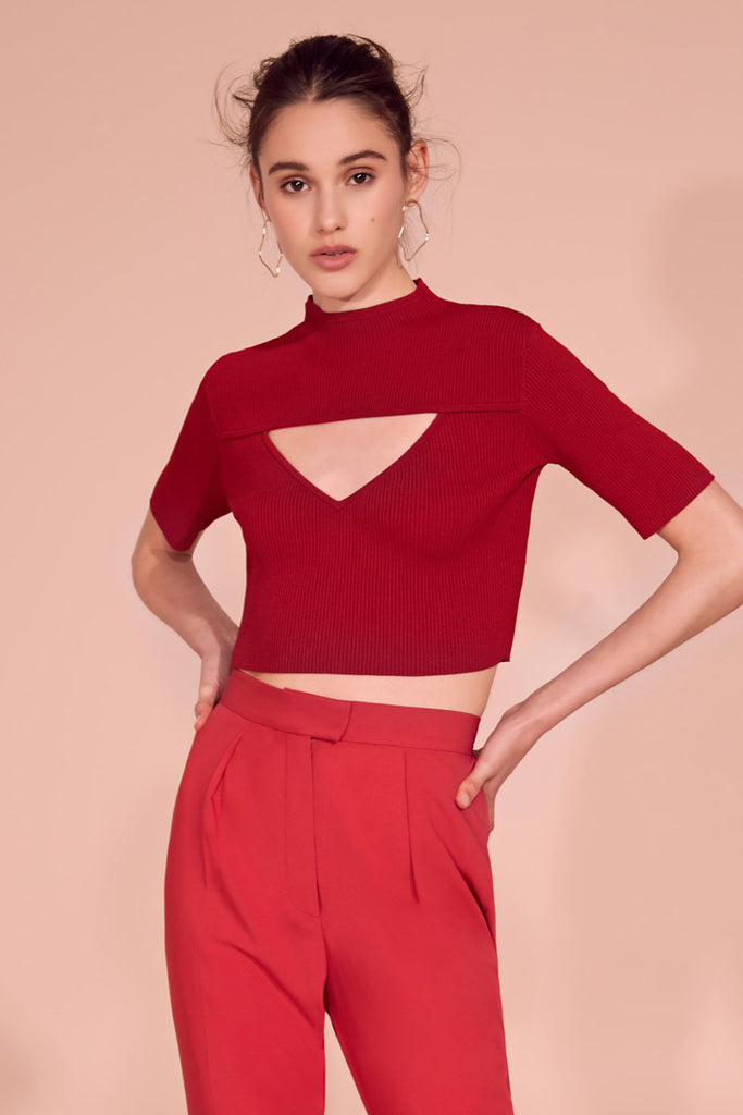 Keepsake Small Talk Cropped Knit Crimson - Room 29