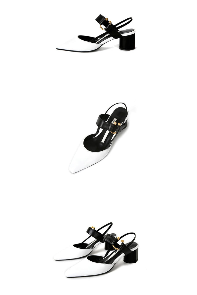 Salondeju 16105 Gold Ring Heel White/Black