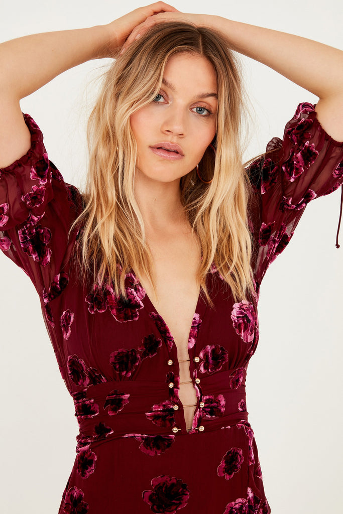 For Love & Lemons Sophie Velvet Floral Mini Dress Pansy - Room 29