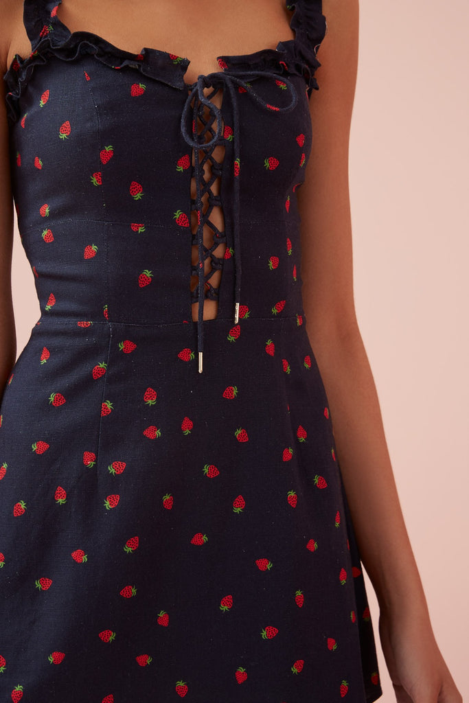 Finders Keepers Lola Mini Dress Navy Strawberry - Room 29