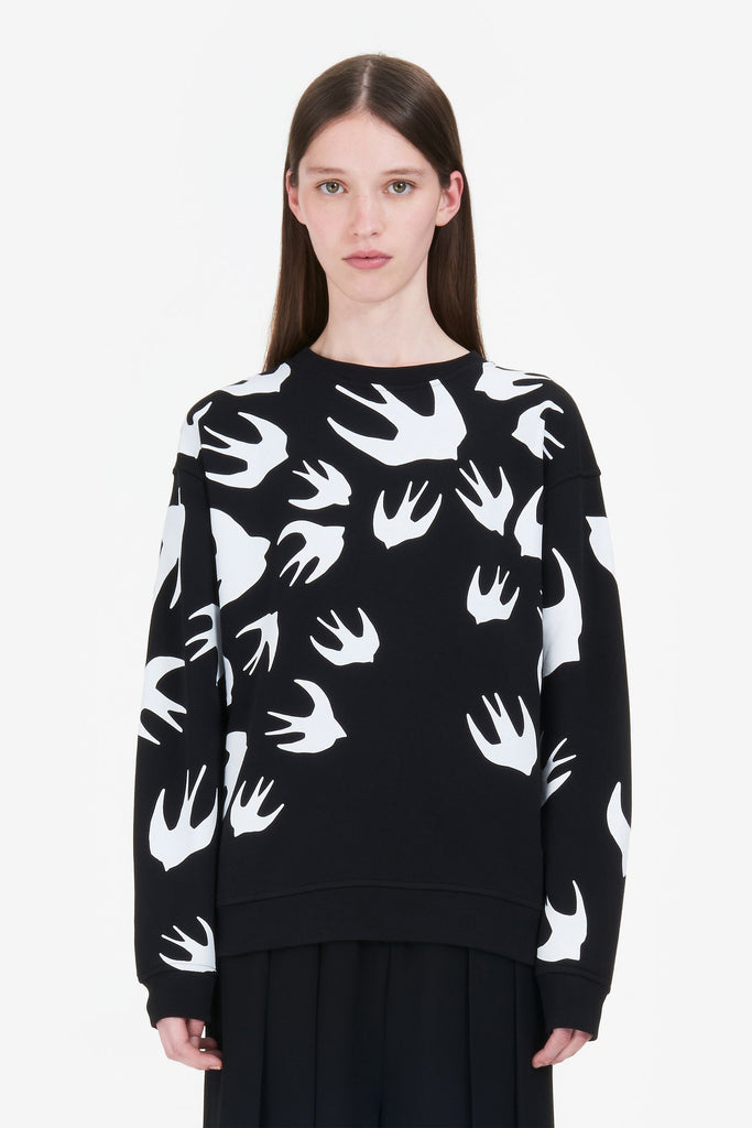 MCQ Classic Sweatshirt Swallow Swarm Black/White - Room 29