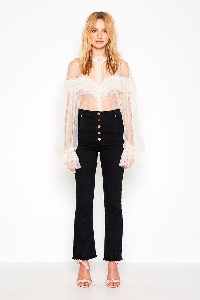 Alice Mccall Just Right Blouse Linear Spot Mesh Crème