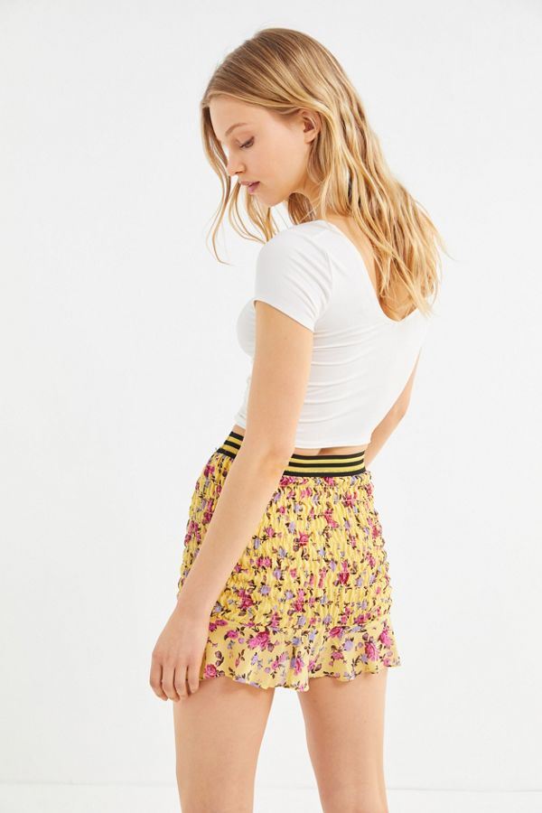 For Love & Lemons Odette Mini Skirt Yellow - Room 29