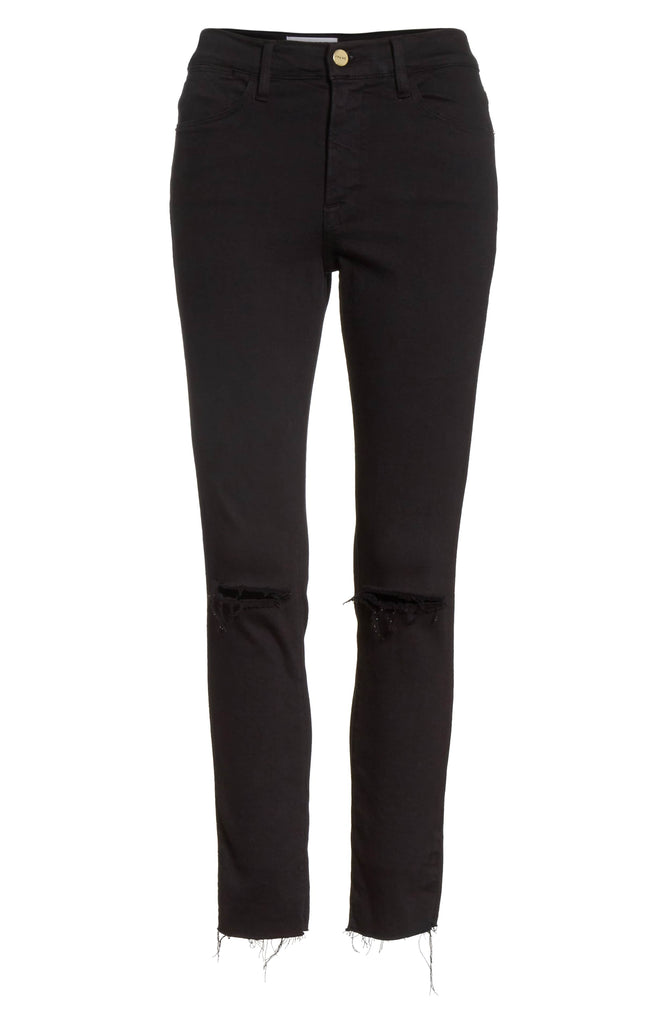 Frame Le High Skinny Raw Edge Noir Slits - Room 29