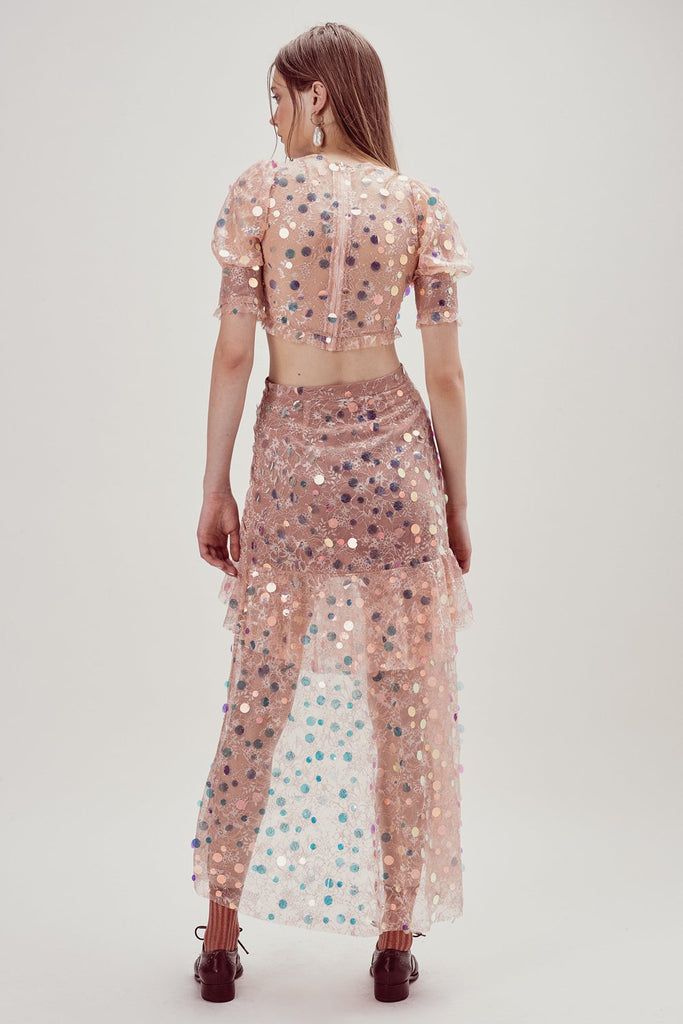For Love & Lemons Ace Tiered Maxi Skirt Nude