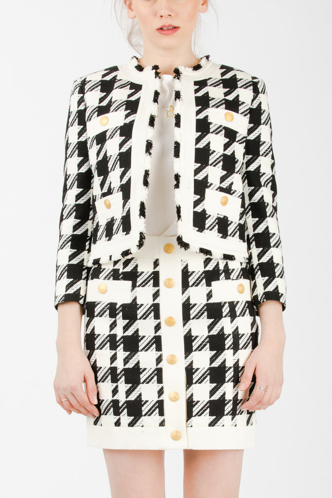 Pierre Balmain Houndstooth Button Tweed Blazer Black - Room 29