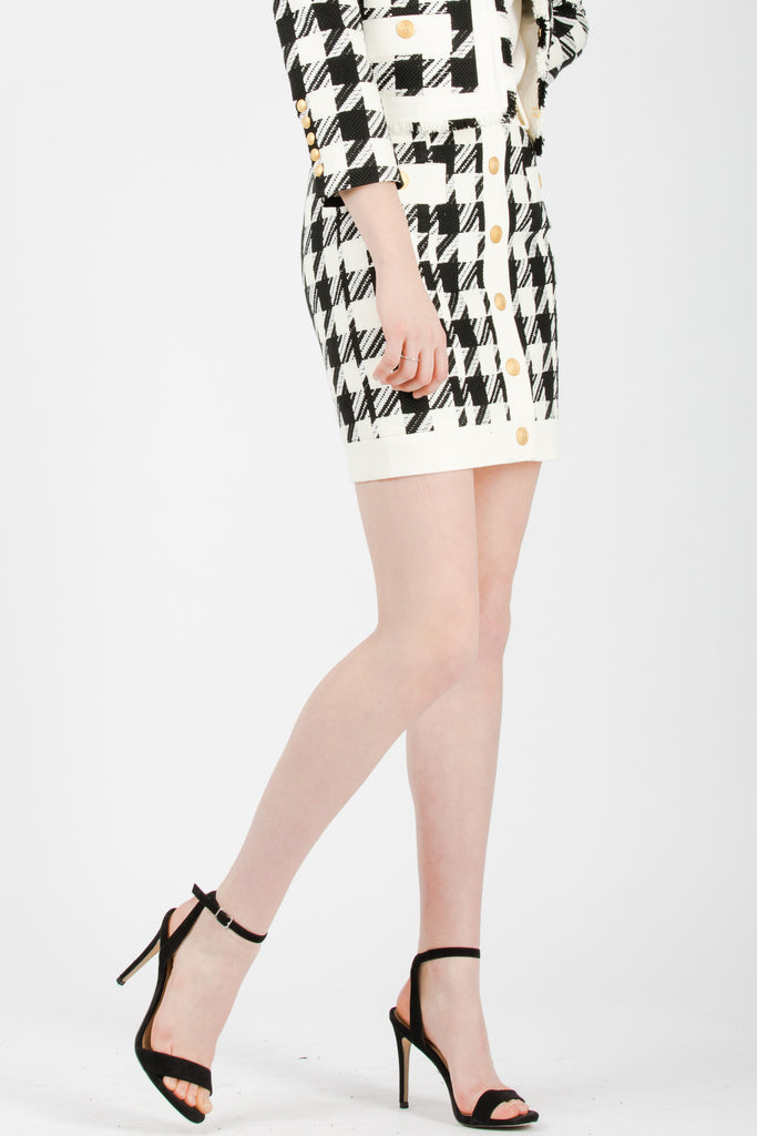 Pierre Balmain Houndstooth Button Tweed Skirt - Room 29