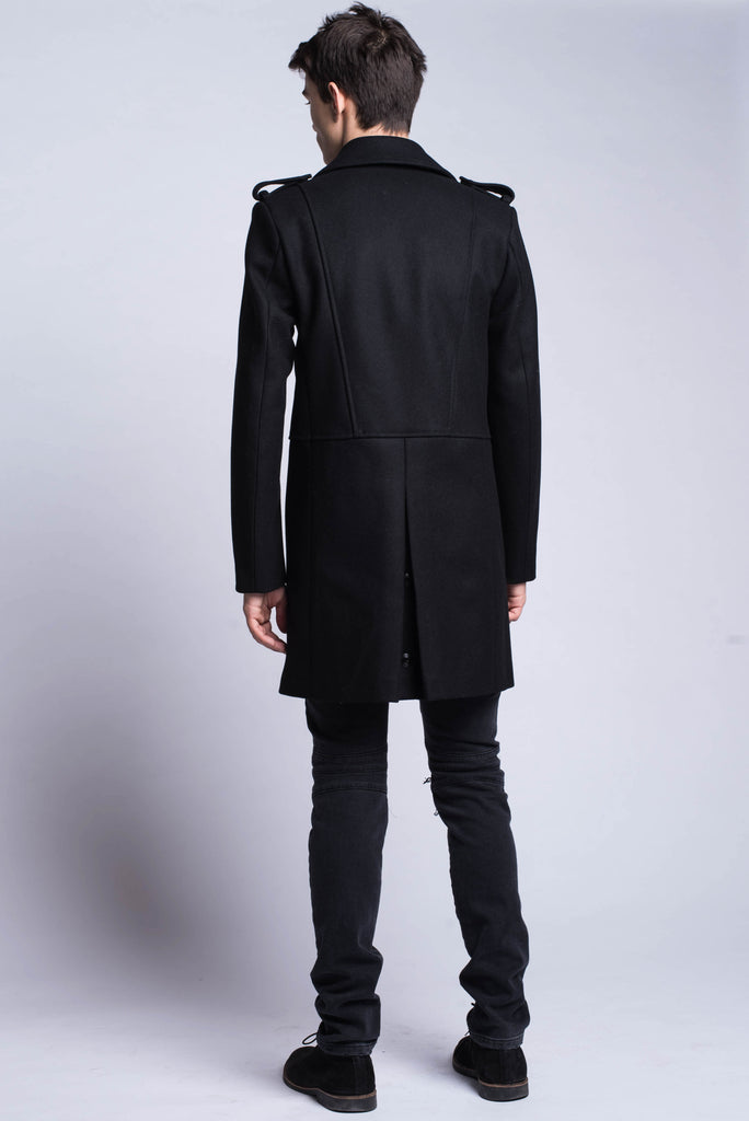 Pierre Balmain Black Long Double-Breasted Military Coat - Room 29