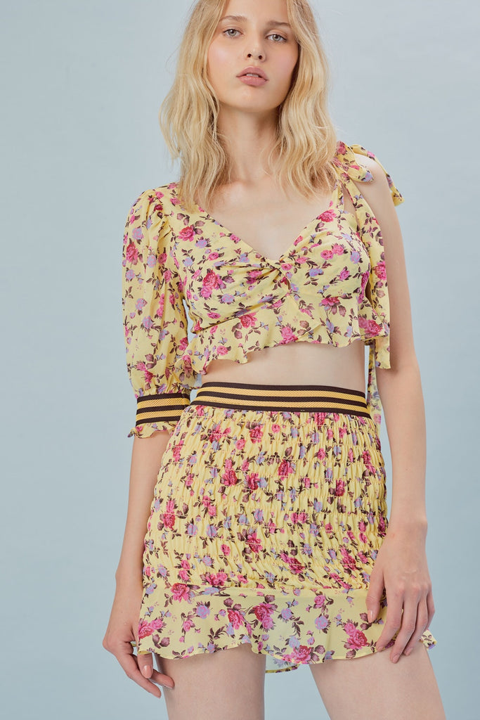 For Love & Lemons Odette Mini Skirt Yellow
