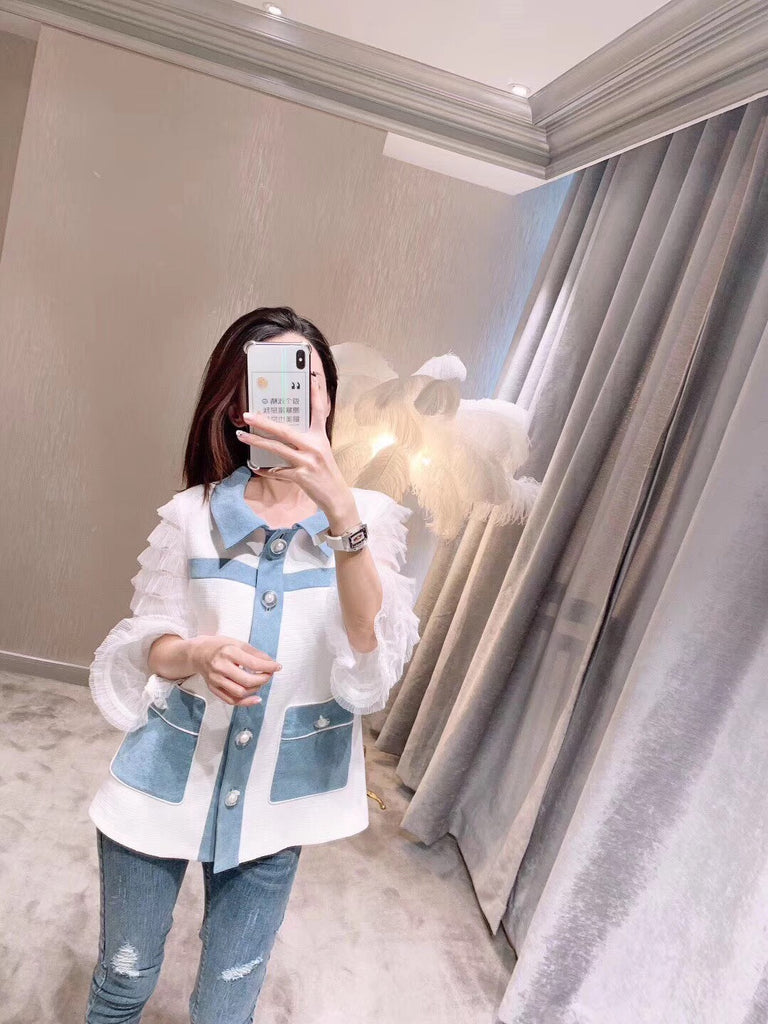 Victoria Wang White Ruffle Denim Jacket - Room 29