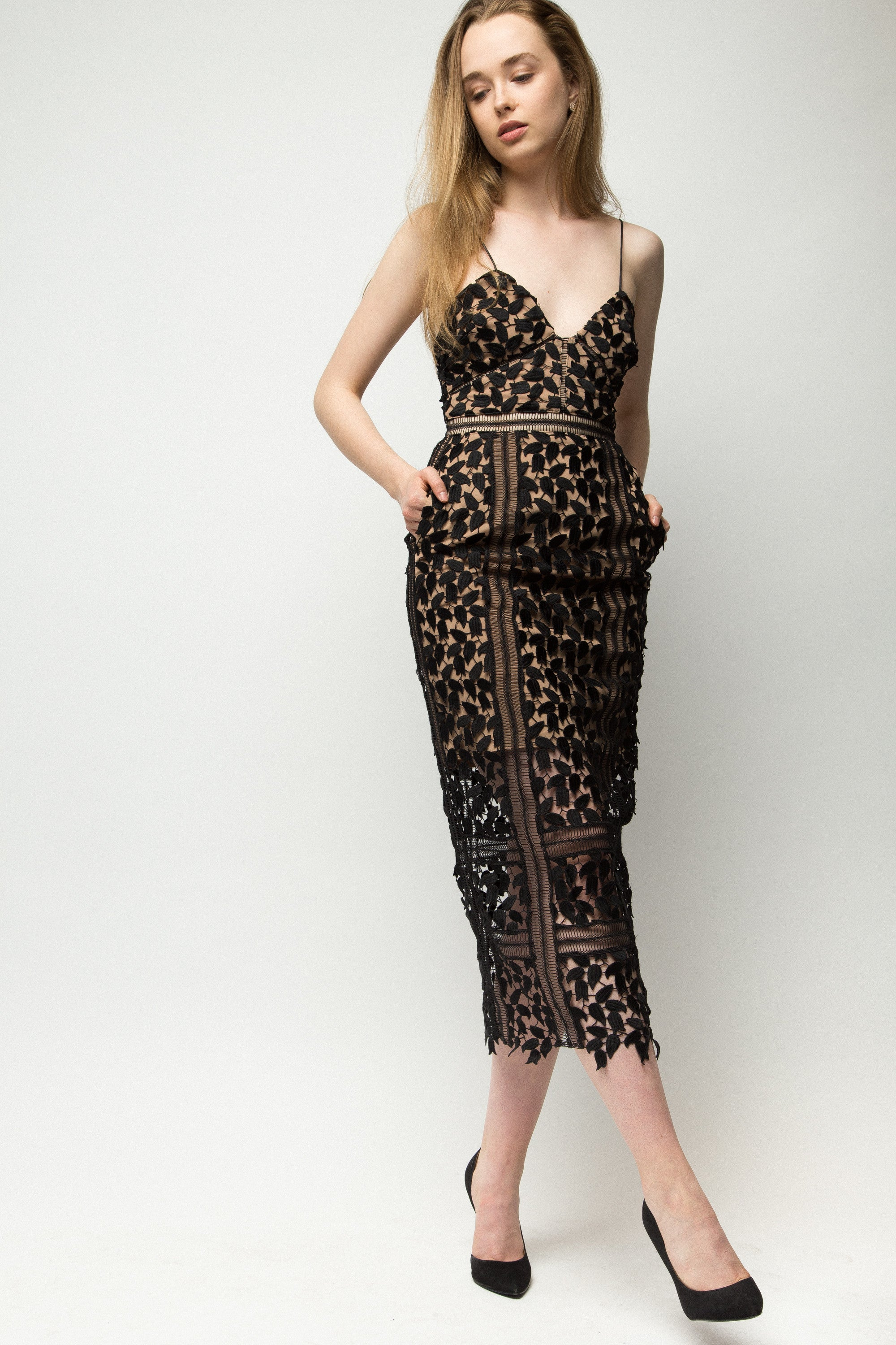 Self Portrait Arabella Midi Dress Black