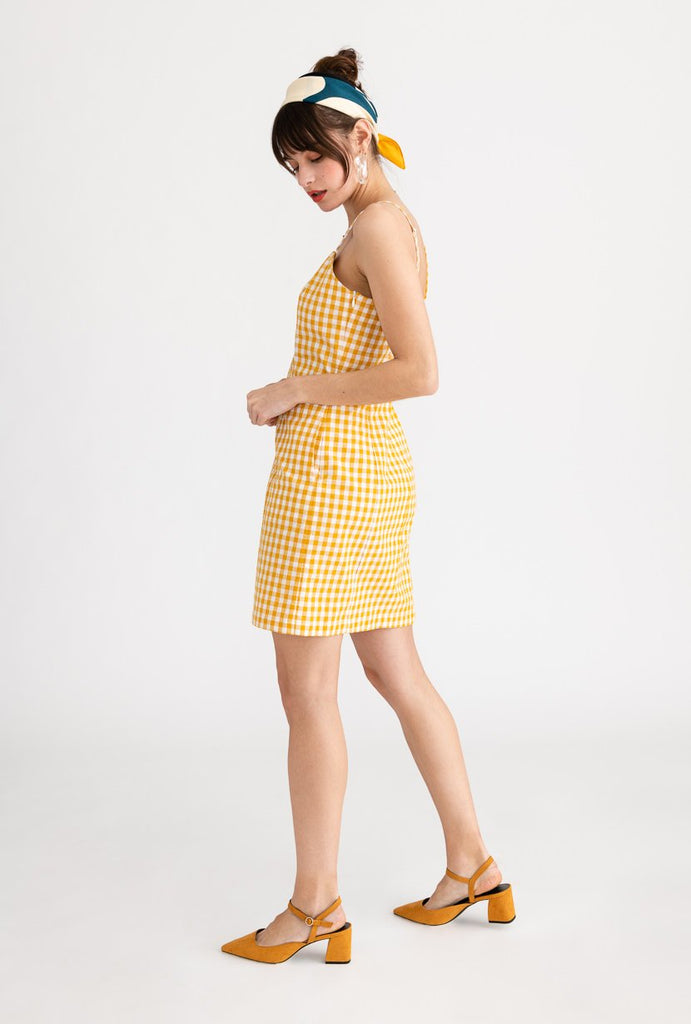 Petite Studio Lola Dress Yellow Gingham - Room 29
