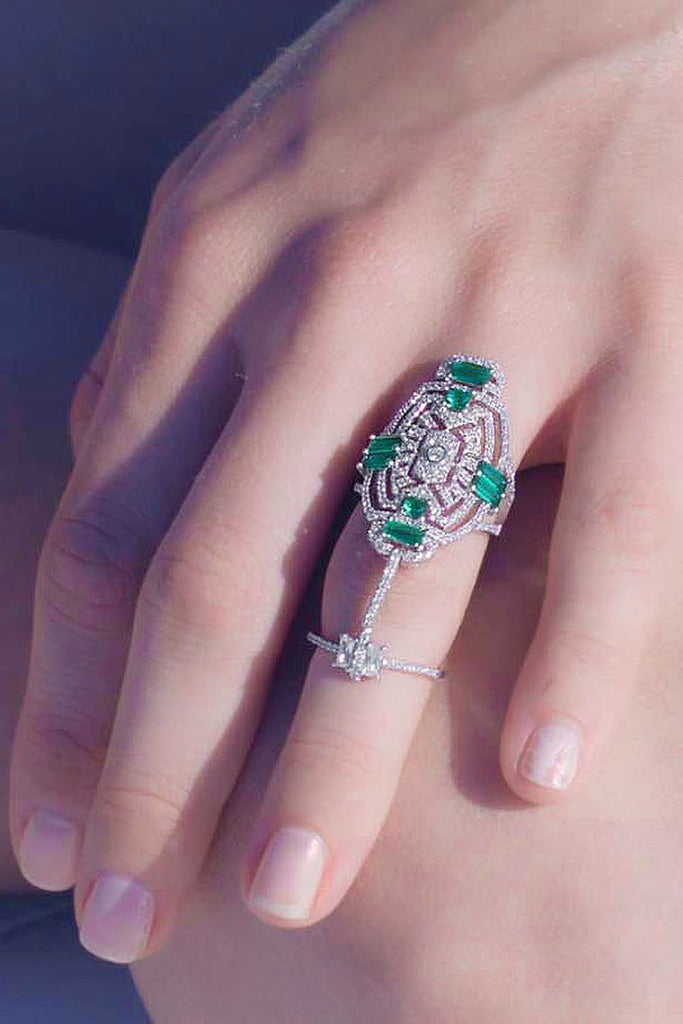 APM Baugette Stone Ring with Green A15552XKG - Room 29