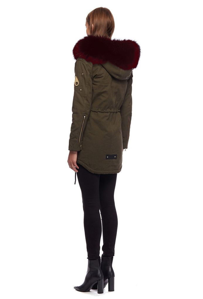 Moose Knuckles Steller Canvas Parka Olive/Ox Blood - Room 29