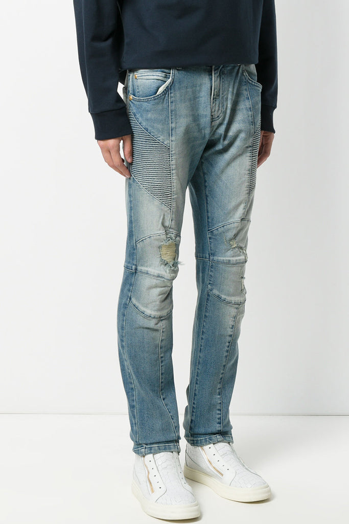 Pierre Balmain Light Blue Faded Biker Jeans - Room 29