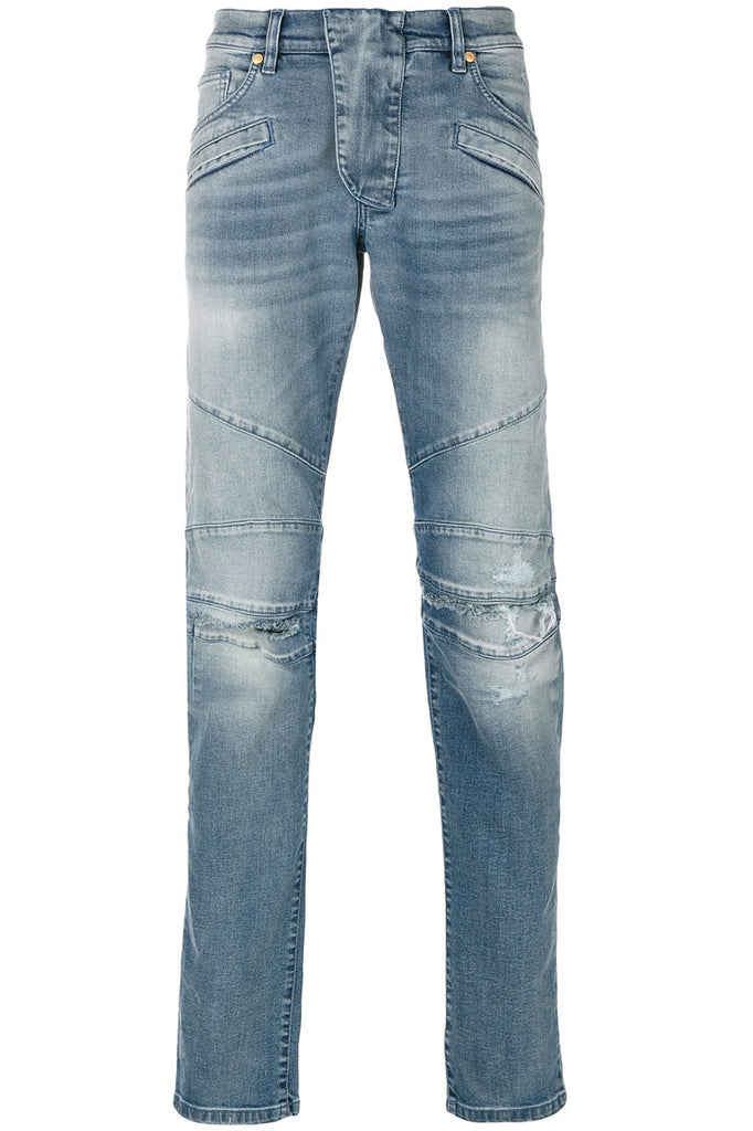 Pierre Balmain Light Blue Knee Rip Biker Jeans - Room 29