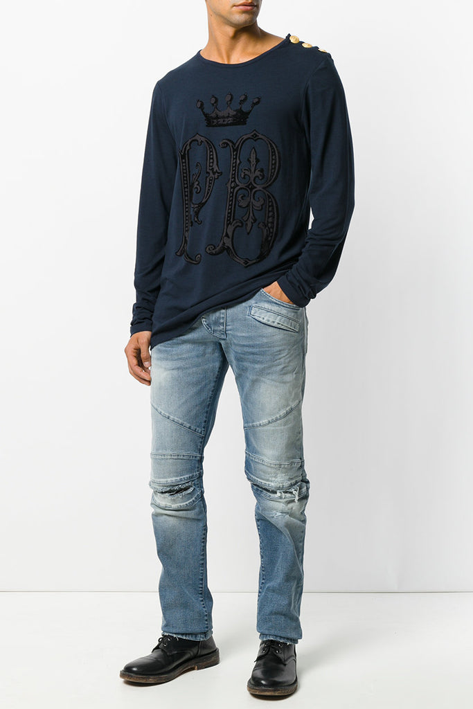 Pierre Balmain Denim Blue Destroyed Biker Jeans - Room 29
