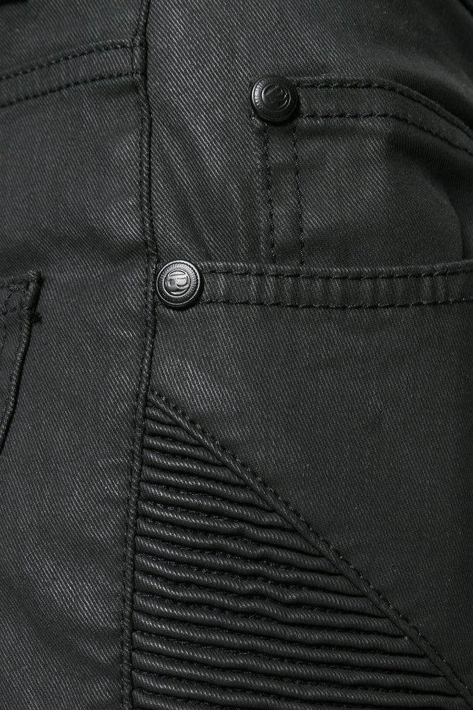 Pierre Balmain Black Coated Biker Jeans - Room 29