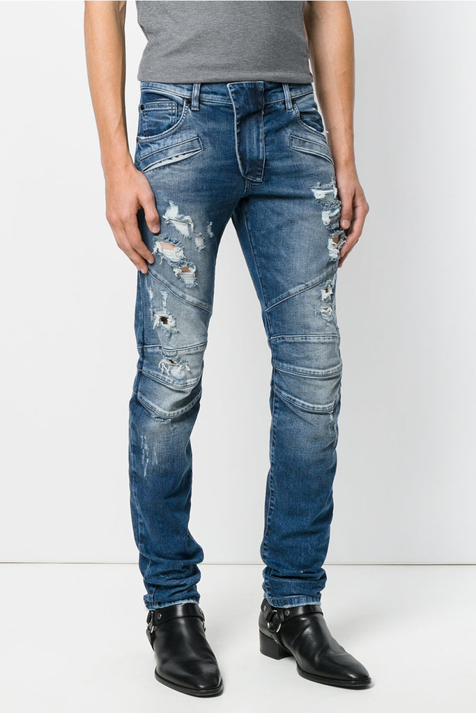 Pierre Balmain Blue Distressed Biker Jeans - Room 29