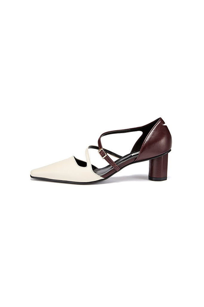 Salondeju SJ18304 Strapped Kitten Heel White Red - Room 29