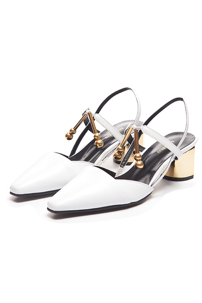 Salondeju 18002 White Slingback Shoe with Gold Heel - Room 29