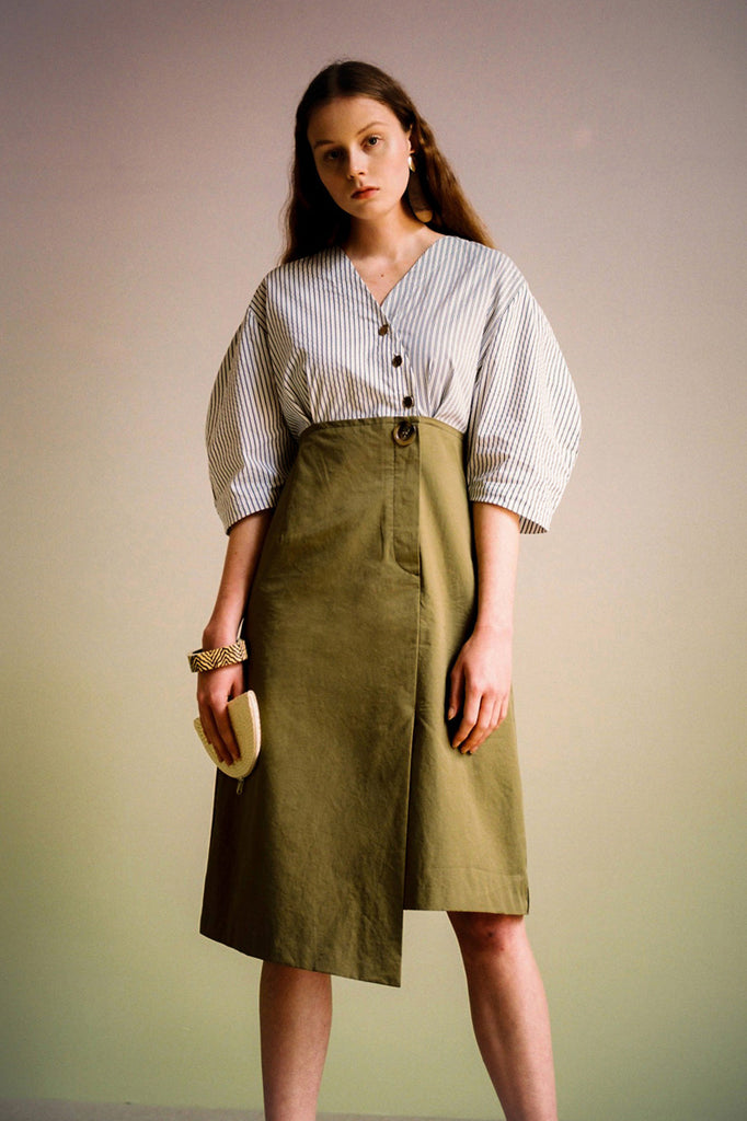 Andersson Bell Lena Shirt Combo Dress Khaki - Room 29