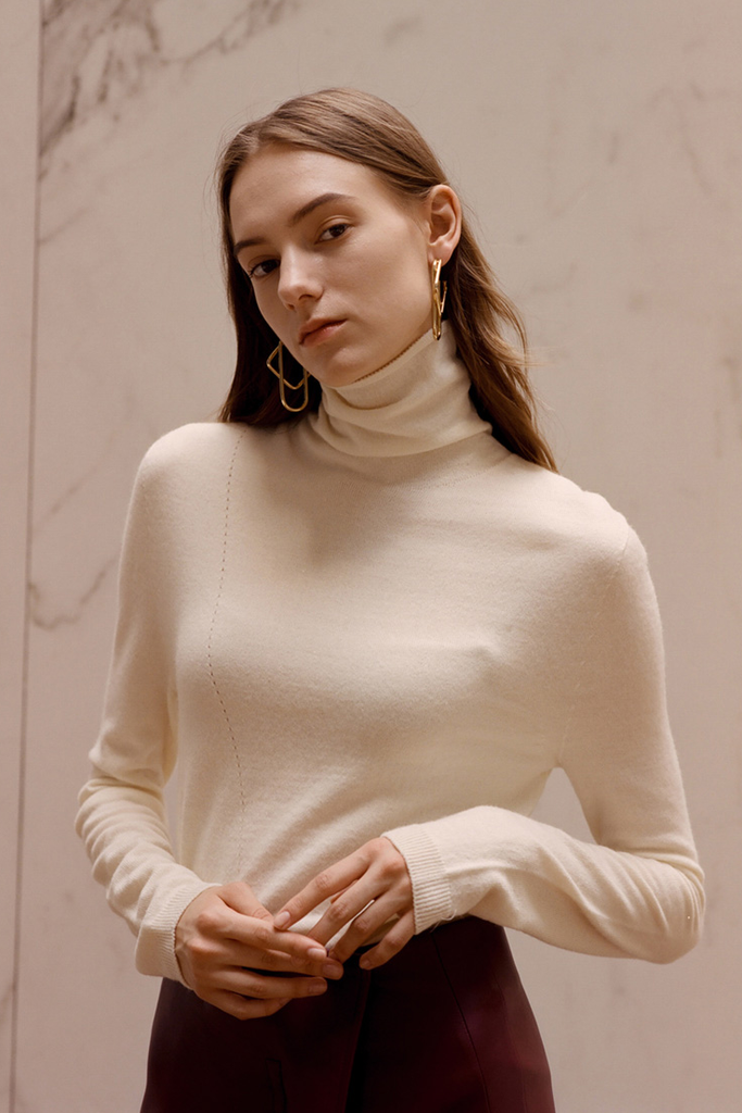 Andersson Bell Maria Fitted Turtleneck Sweater Ivory