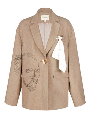 Devil Beauty Van Gogh Beige Blazer - Room 29