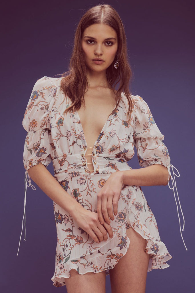 For Love & Lemons Elyse Flirty Mini Dress Lurex Floral - Room 29