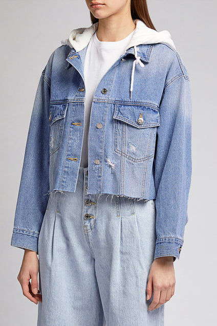 SJYP Denim Hooded Crop Jacket