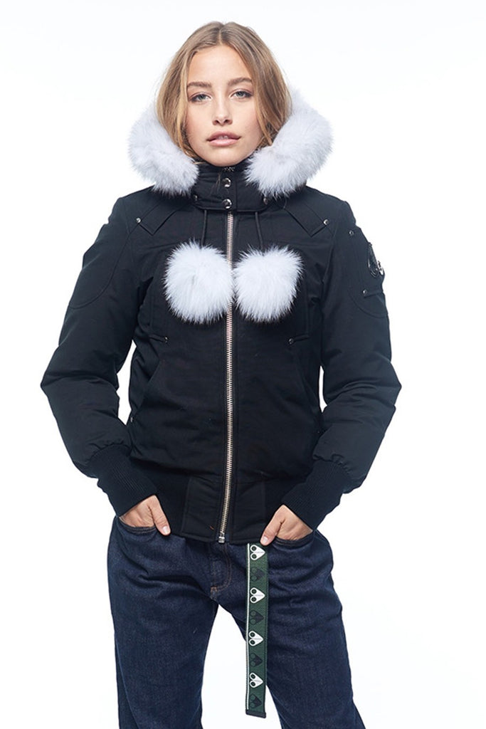 Moose Knuckles Debbie Bomber Black/White Fur - Room 29