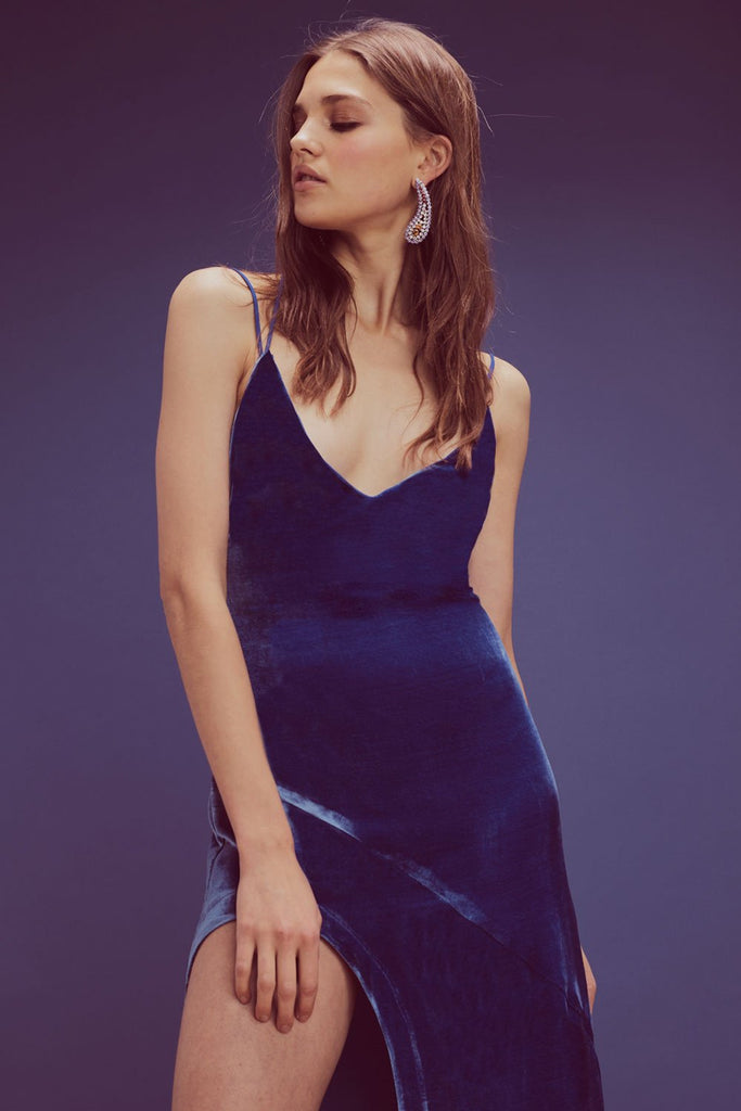 For Love & Lemons Nadine Velvet Maxi Cobalt - Room 29