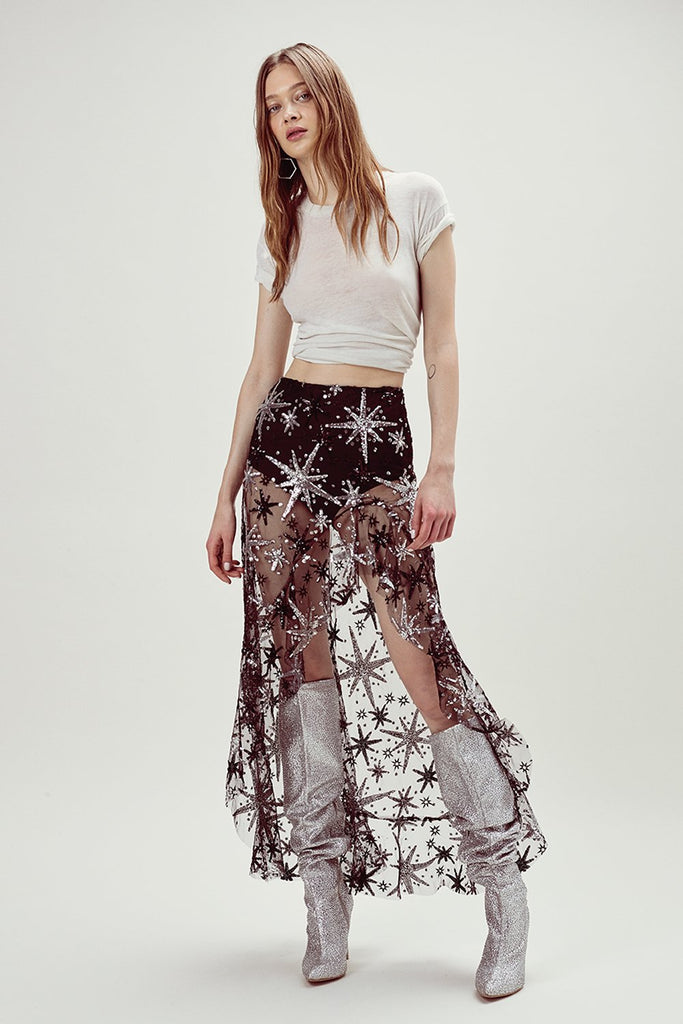 For Love & Lemons Stardust Asymmetrical Skirt Stardust