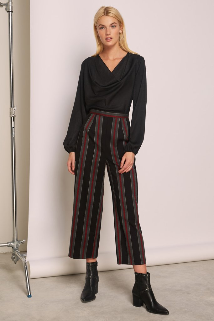 The Fifth Label Reason Stripe Pant Black w/ Red