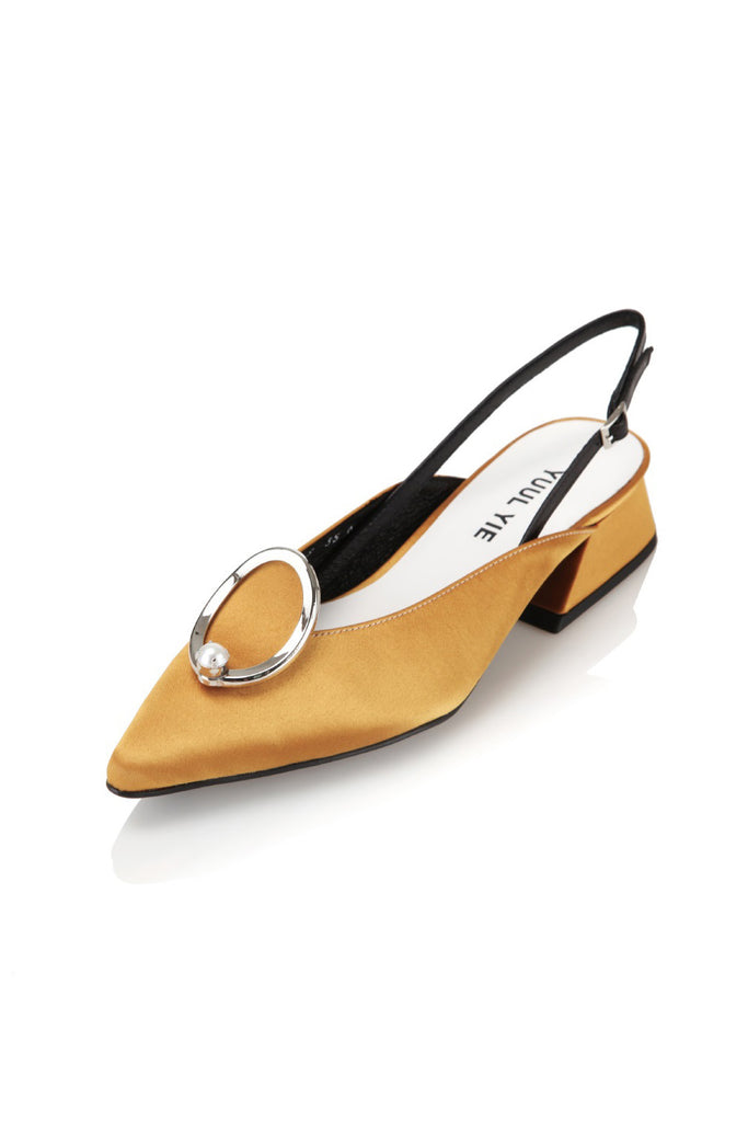 Yuul Yie YS8-S354-MU  Pointed Heel with Metallic Cap Mustard