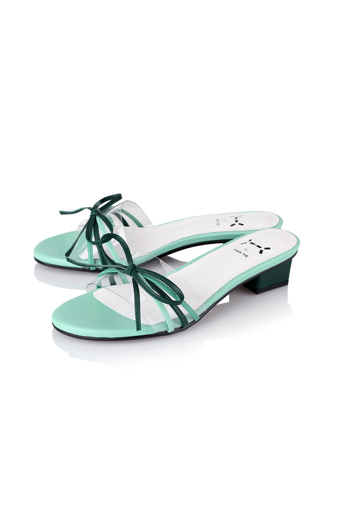 Yuul Yie S26 Transparent Sandal With Bow Tie Green