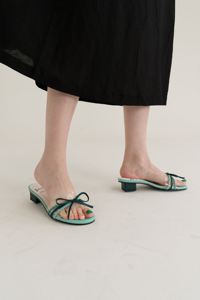 Yuul Yie S26 Transparent Sandal With Bow Tie Green - Room 29