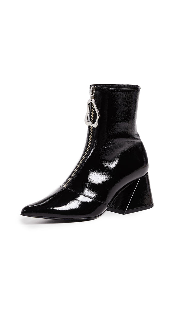 Yuul Yie Front Zipper Closure Point Toe Boots Black