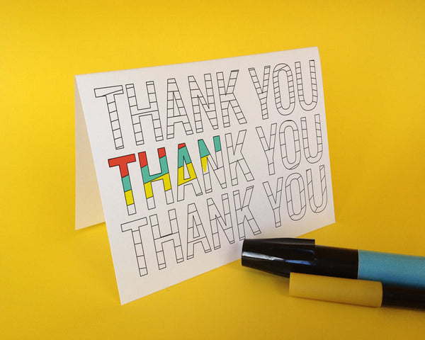 "Coloring Greeting Card: Thank You Design 5""x7"" w/Blank Inside (10 Pack)"